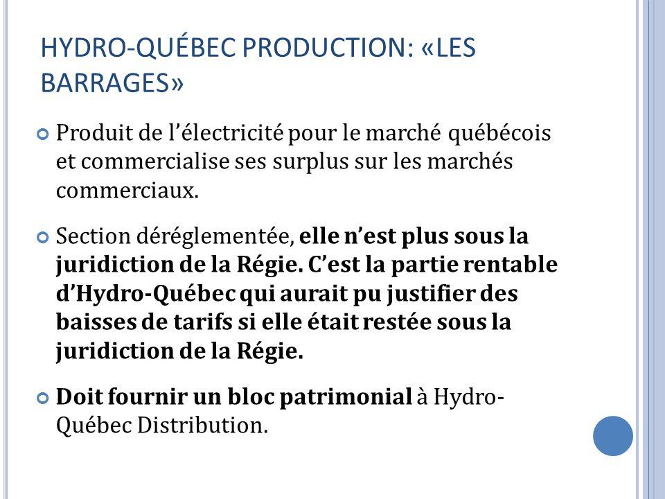 HYDRO-QUÉBEC PRODUCTION: «LES BARRAGES» Produit de lélectricité pour le marché québécois et commercialise ses surplus sur les marchés commerciaux. Sec