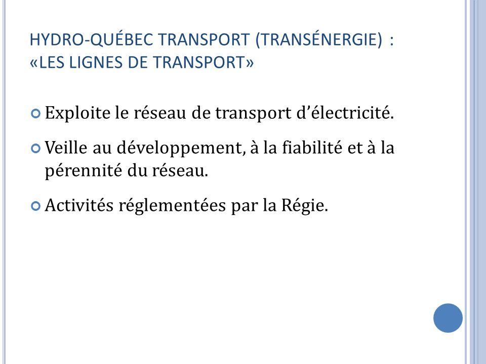 HYDRO-QUÉBEC TRANSPORT (TRANSÉNERGIE) : «LES LIGNES DE TRANSPORT» Exploite le réseau de transport délectricité. Veille au développement, à la fiabilit