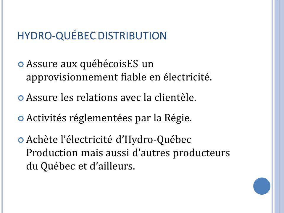 HYDRO-QUÉBEC DISTRIBUTION Assure aux québécoisES un approvisionnement fiable en électricité. Assure les relations avec la clientèle. Activités régleme