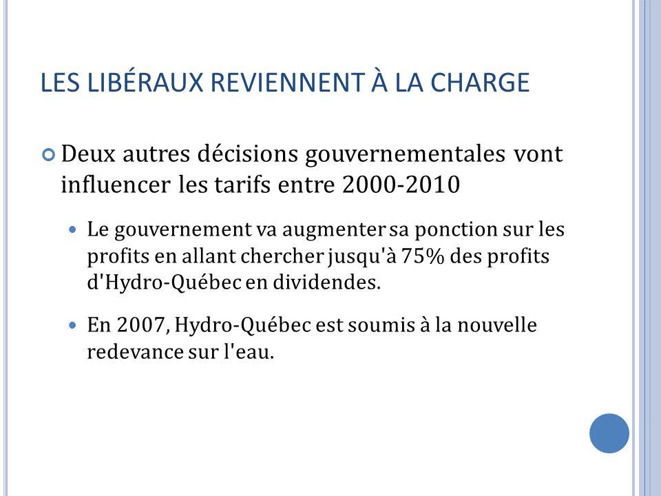 LES LIBÉRAUX REVIENNENT À LA CHARGE Deux autres décisions gouvernementales vont influencer les tarifs entre 2000-2010 Le gouvernement va augmenter sa