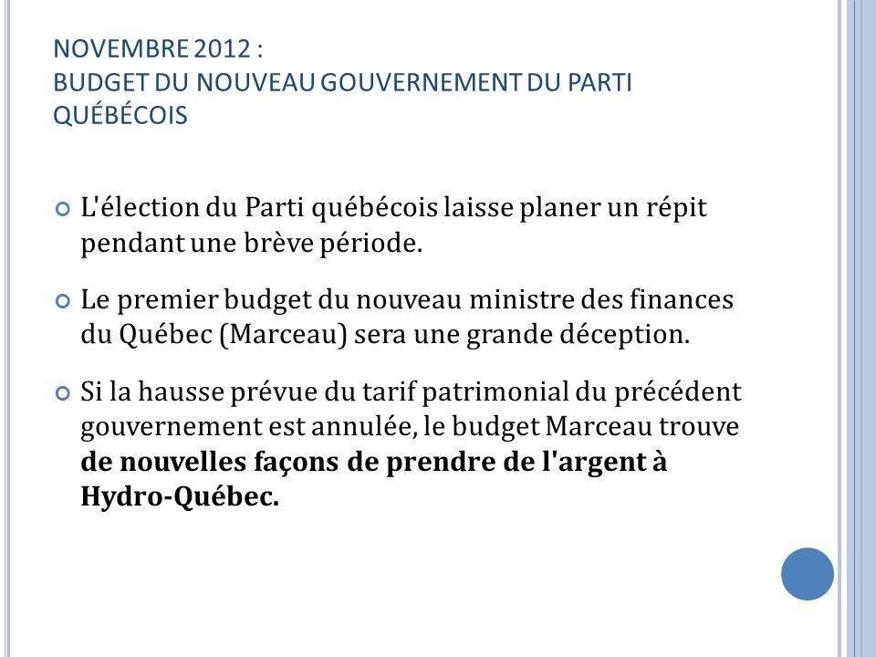 NOVEMBRE 2012 : BUDGET DU NOUVEAU GOUVERNEMENT DU PARTI QUÉBÉCOIS L'élection du Parti québécois laisse planer un répit pendant une brève période. Le p