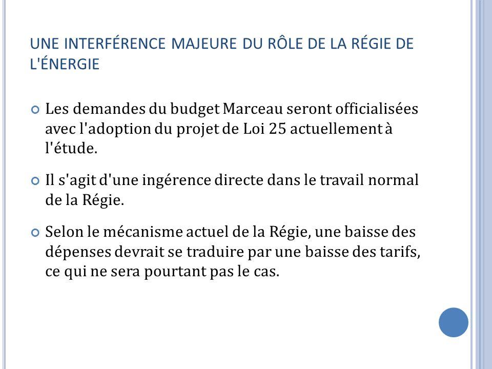 UNE INTERFÉRENCE MAJEURE DU RÔLE DE LA RÉGIE DE L ÉNERGIE Les demandes du budget Marceau seront officialisées avec l adoption du projet de Loi 25 actuellement à l étude.