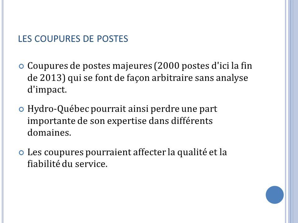 LES COUPURES DE POSTES Coupures de postes majeures (2000 postes d'ici la fin de 2013) qui se font de façon arbitraire sans analyse d'impact. Hydro-Qué