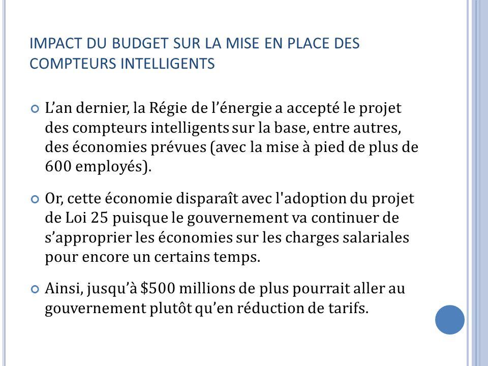 IMPACT DU BUDGET SUR LA MISE EN PLACE DES COMPTEURS INTELLIGENTS Lan dernier, la Régie de lénergie a accepté le projet des compteurs intelligents sur la base, entre autres, des économies prévues (avec la mise à pied de plus de 600 employés).