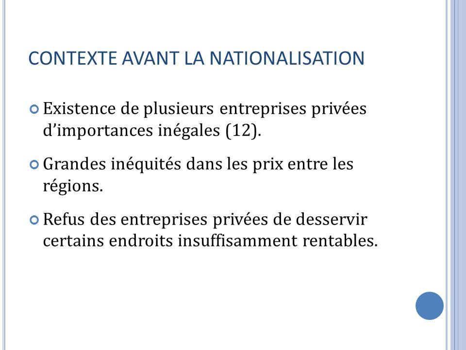 CONTEXTE AVANT LA NATIONALISATION Existence de plusieurs entreprises privées dimportances inégales (12). Grandes inéquités dans les prix entre les rég