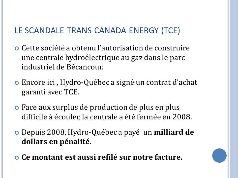LE SCANDALE TRANS CANADA ENERGY (TCE) Cette société a obtenu lautorisation de construire une centrale hydroélectrique au gaz dans le parc industriel de Bécancour.