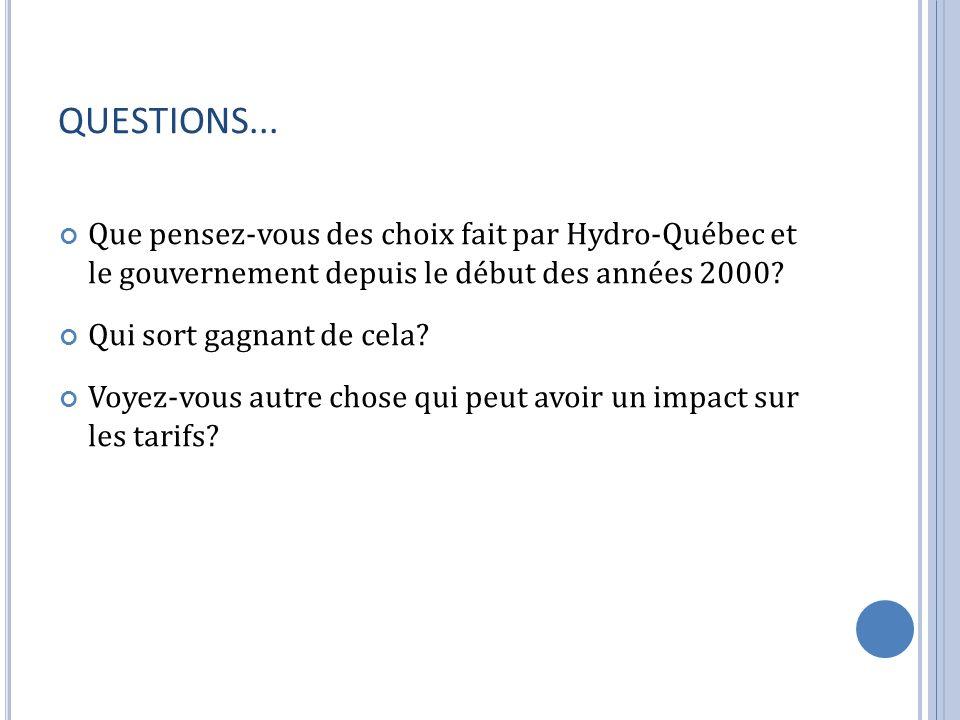 QUESTIONS... Que pensez-vous des choix fait par Hydro-Québec et le gouvernement depuis le début des années 2000? Qui sort gagnant de cela? Voyez-vous