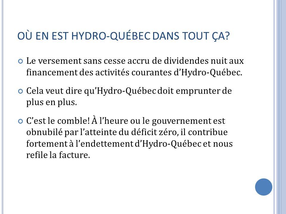OÙ EN EST HYDRO-QUÉBEC DANS TOUT ÇA? Le versement sans cesse accru de dividendes nuit aux financement des activités courantes dHydro-Québec. Cela veut