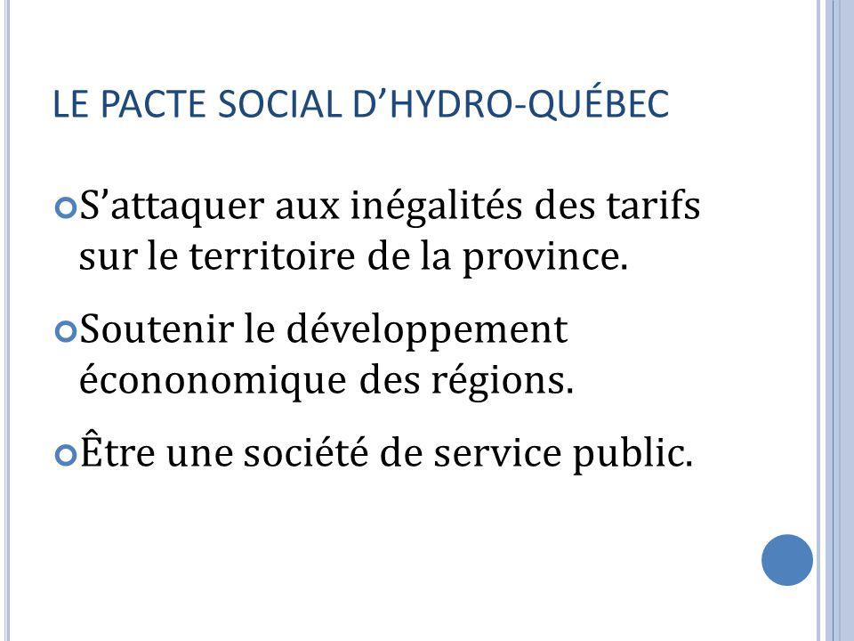LE PACTE SOCIAL DHYDRO-QUÉBEC Sattaquer aux inégalités des tarifs sur le territoire de la province. Soutenir le développement écononomique des régions