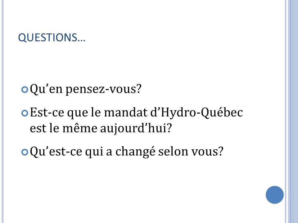 QUESTIONS… Quen pensez-vous? Est-ce que le mandat dHydro-Québec est le même aujourdhui? Quest-ce qui a changé selon vous?