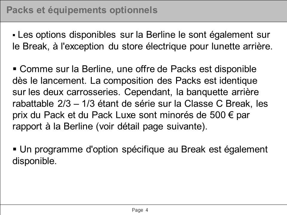 Page 4 Packs et équipements optionnels Les options disponibles sur la Berline le sont également sur le Break, à l'exception du store électrique pour l