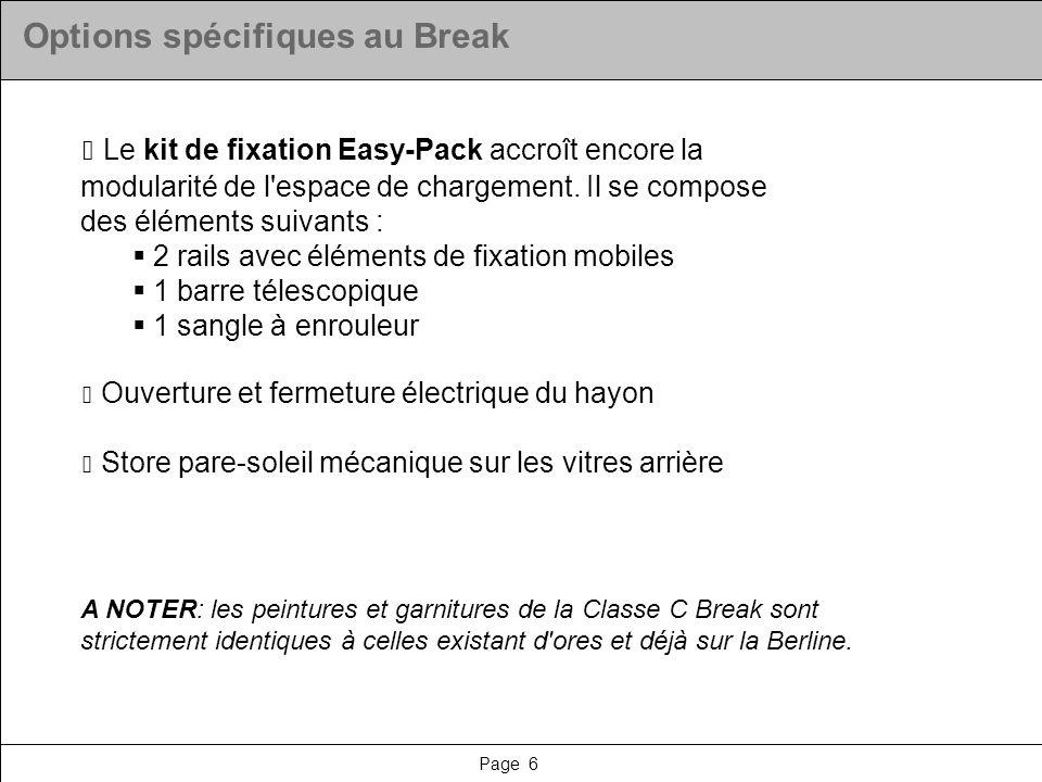 Page 7 Options spécifiques au Break : tarifs