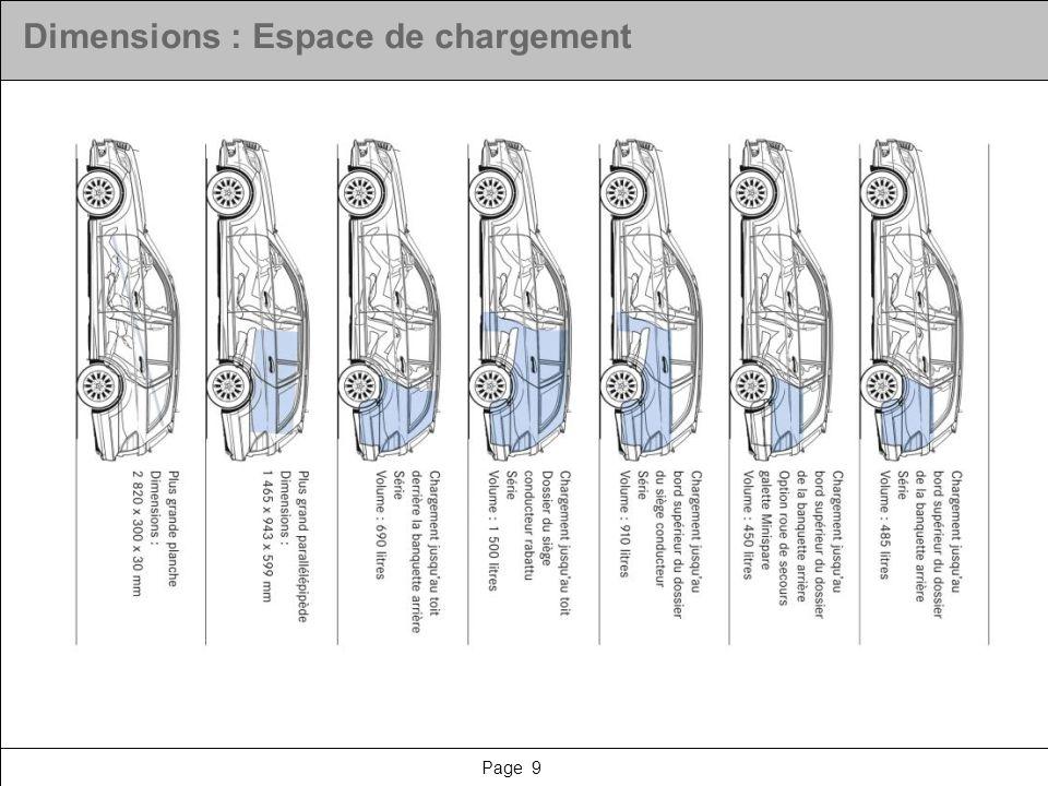 Page 9 Dimensions : Espace de chargement