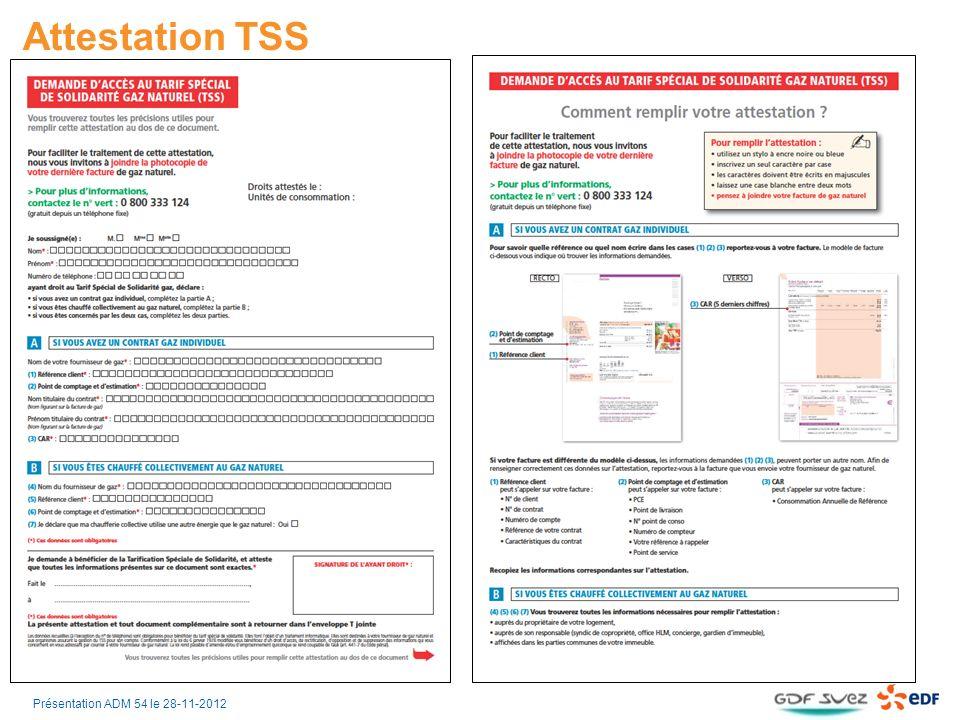 Attestation TSS RectoVerso Présentation ADM 54 le 28-11-2012