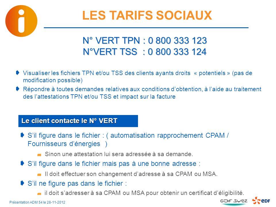 N° VERT TPN : 0 800 333 123 N°VERT TSS : 0 800 333 124 Visualiser les fichiers TPN et/ou TSS des clients ayants droits « potentiels » (pas de modification possible) Répondre à toutes demandes relatives aux conditions dobtention, à laide au traitement des lattestations TPN et/ou TSS et impact sur la facture LES TARIFS SOCIAUX Le client contacte le N° VERT Sil figure dans le fichier : ( automatisation rapprochement CPAM / Fournisseurs dénergies ) Sinon une attestation lui sera adressée à sa demande.