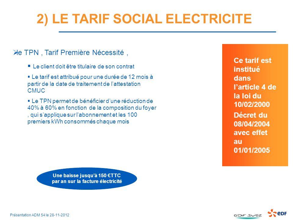 le TPN, Tarif Première Nécessité, Le client doit être titulaire de son contrat Le tarif est attribué pour une durée de 12 mois à partir de la date de traitement de lattestation CMUC Le TPN permet de bénéficier dune réduction de 40% à 60% en fonction de la composition du foyer, qui sapplique sur labonnement et les 100 premiers kWh consommés chaque mois Une baisse jusquà 150 TTC par an sur la facture électricité Ce tarif est institué dans larticle 4 de la loi du 10/02/2000 Décret du 08/04/2004 avec effet au 01/01/2005 2) LE TARIF SOCIAL ELECTRICITE Présentation ADM 54 le 28-11-2012