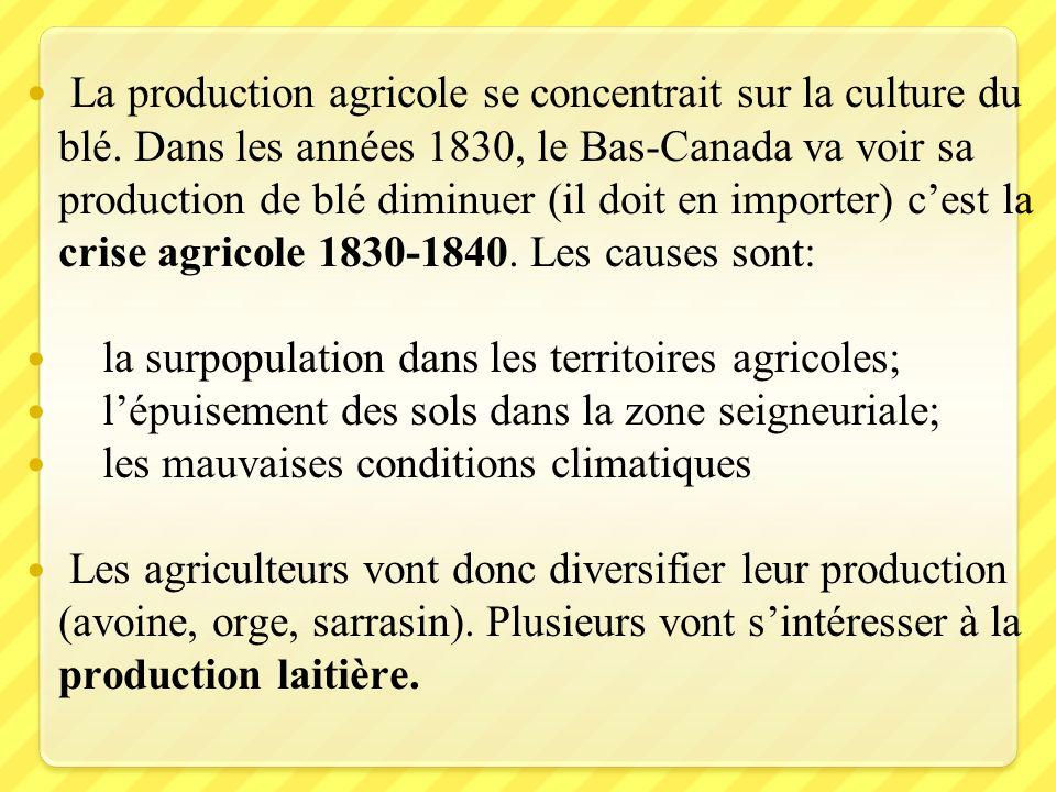 La production agricole se concentrait sur la culture du blé. Dans les années 1830, le Bas-Canada va voir sa production de blé diminuer (il doit en imp