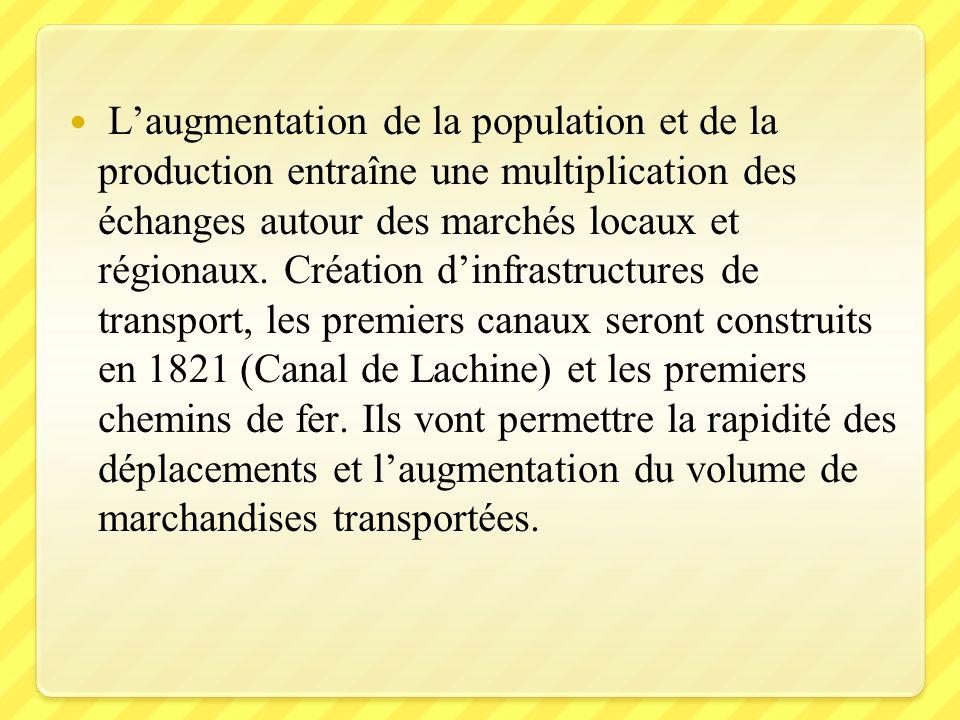 Laugmentation de la population et de la production entraîne une multiplication des échanges autour des marchés locaux et régionaux. Création dinfrastr