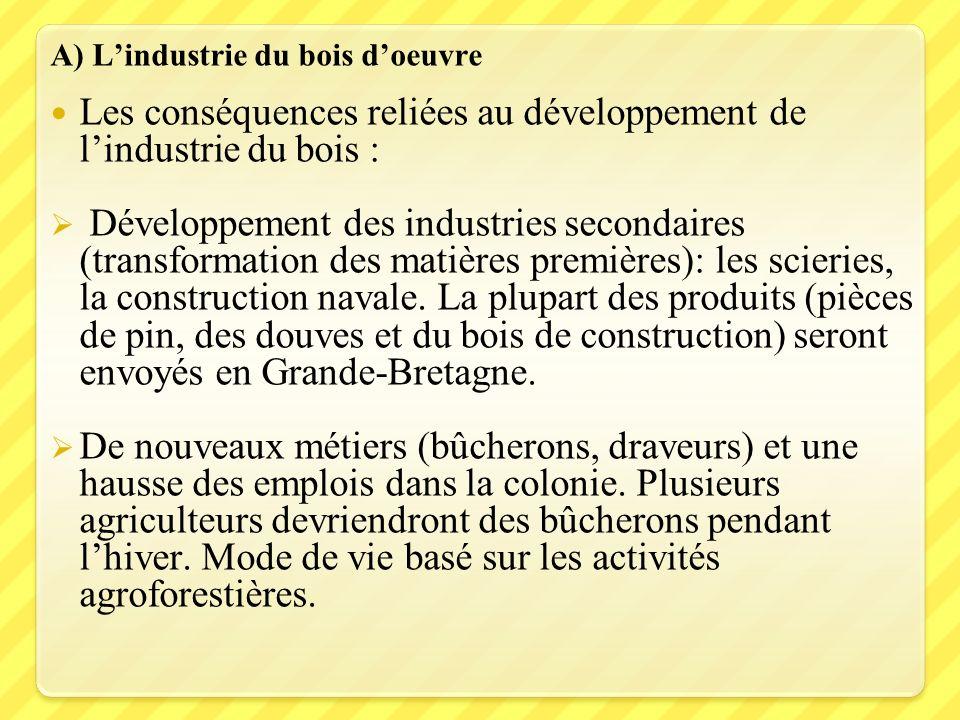 A) Lindustrie du bois doeuvre Les conséquences reliées au développement de lindustrie du bois : Développement des industries secondaires (transformati