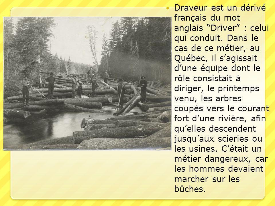 Draveur est un dérivé français du mot anglais Driver : celui qui conduit. Dans le cas de ce métier, au Québec, il sagissait dune équipe dont le rôle c