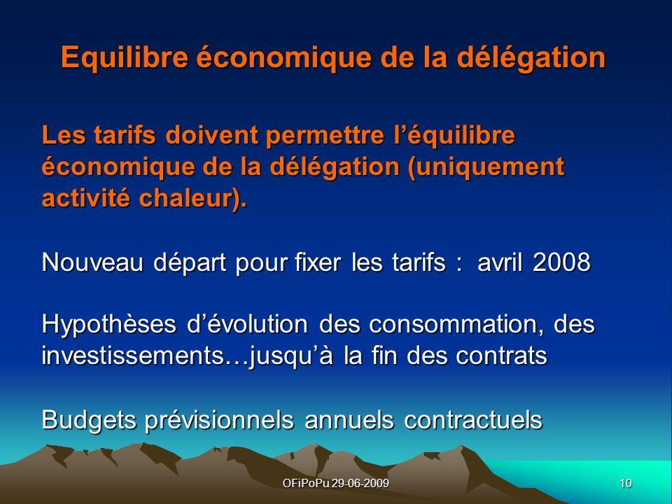 10OFiPoPu 29-06-2009 Equilibre économique de la délégation Les tarifs doivent permettre léquilibre économique de la délégation (uniquement activité ch