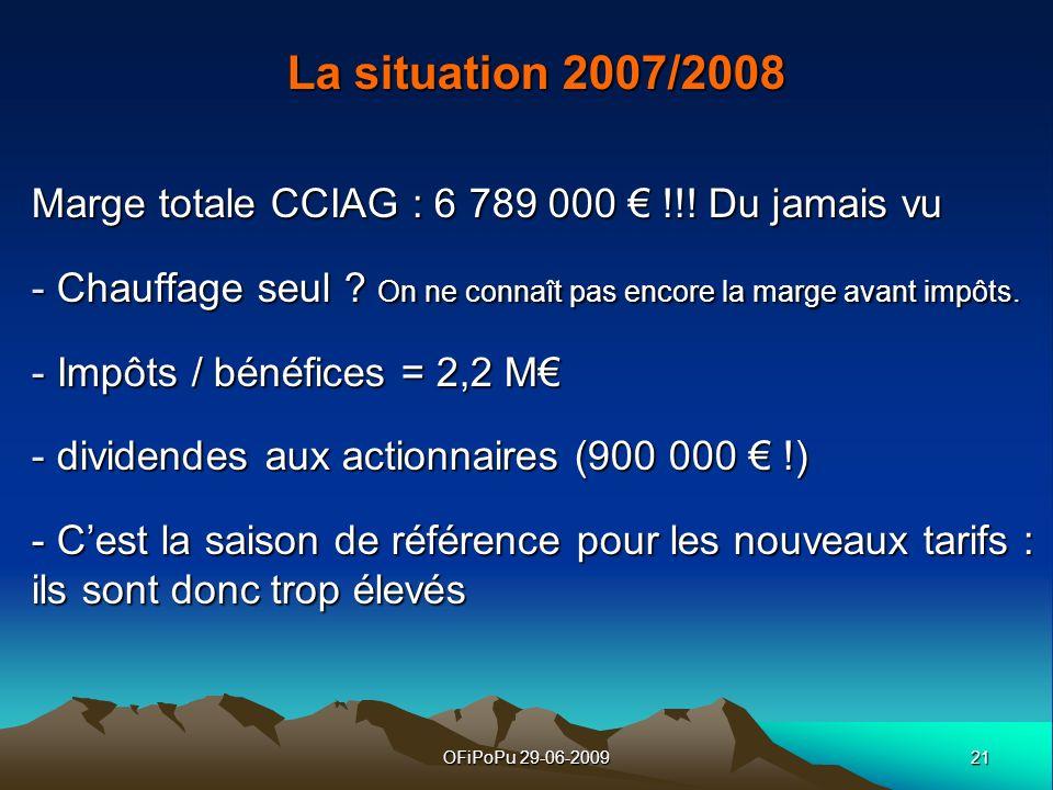 21OFiPoPu 29-06-2009 La situation 2007/2008 Marge totale CCIAG : 6 789 000 !!! Du jamais vu - Chauffage seul ? On ne connaît pas encore la marge avant