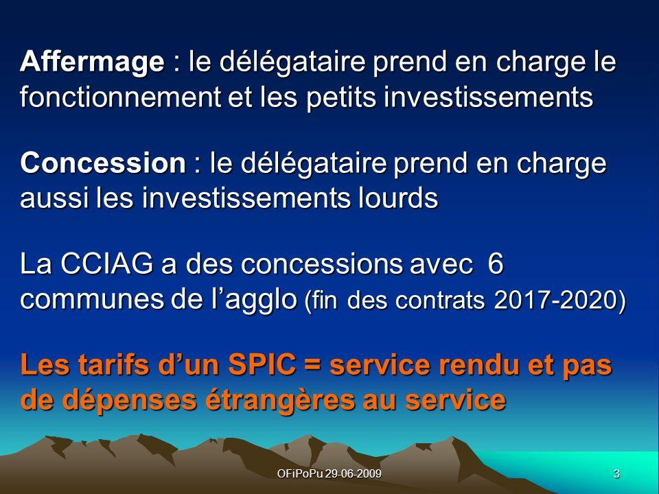 3OFiPoPu 29-06-2009 Affermage : le délégataire prend en charge le fonctionnement et les petits investissements Concession : le délégataire prend en ch