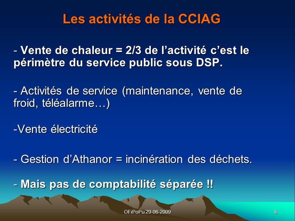 6OFiPoPu 29-06-2009 Les activités de la CCIAG - Vente de chaleur = 2/3 de lactivité cest le périmètre du service public sous DSP. - Activités de servi