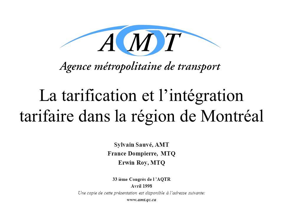 La tarification et lintégration tarifaire dans la région de Montréal Sylvain Sauvé, AMT France Dompierre, MTQ Erwin Roy, MTQ 33 ième Congrès de l AQTR