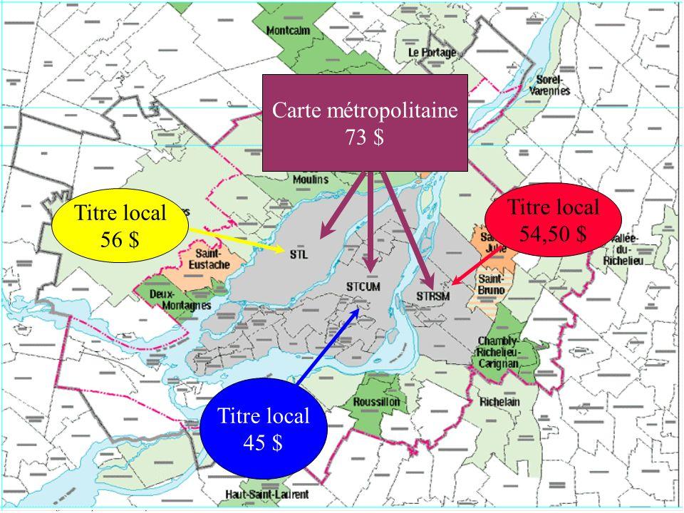 CIT B.Laurentides 102 $ à 168 $ 147 $ à 213 $ CIT Deux-Montagnes 85 $ à 127 $ 102,50 $ à 144,50 $ OMIT St-Eustache 73 $ à 133 $ CIT Des Moulins 57,1 $ à 101,8 $ 102,1 $ à 146,8 $ OMIT Repentigny 73 $ 118 $ CIT Sud-Ouest 58 $ à 95,6 $ 103 $ à 140,6 $ CIT Haut St-Laurent 95,5 $ 124,9 $ à 140,5 $ CIT Roussillon 70 $ 115 $ CIT Richelain 70,7 $ à 82,95 $ 115,7 $ à 127,95 $ CIT Chambly-Rich.