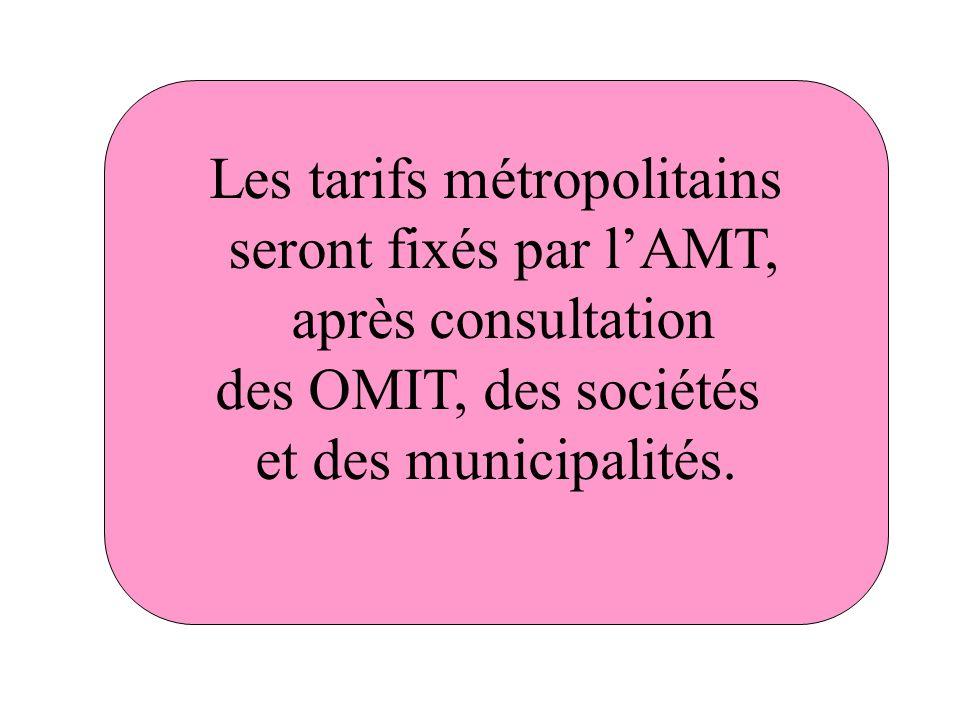 Les tarifs métropolitains seront fixés par lAMT, après consultation des OMIT, des sociétés et des municipalités.