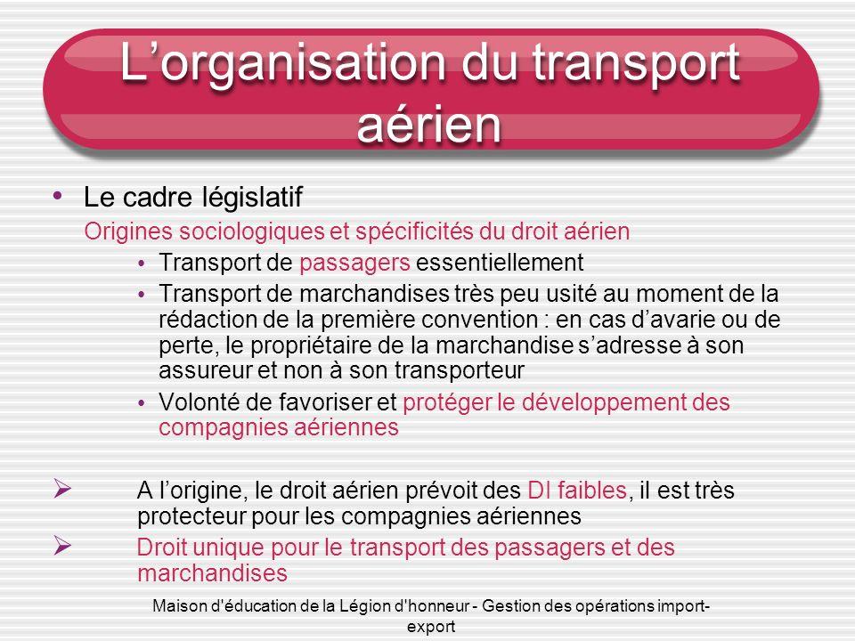 Maison d'éducation de la Légion d'honneur - Gestion des opérations import- export Lorganisation du transport aérien Le cadre législatif Origines socio