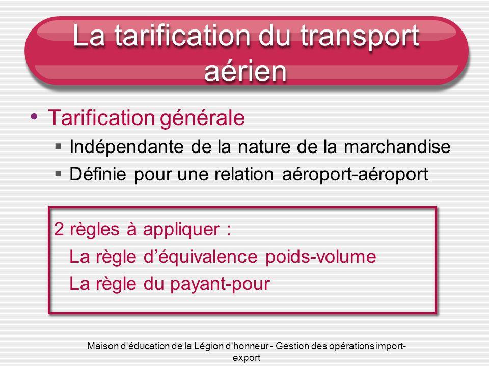 Maison d'éducation de la Légion d'honneur - Gestion des opérations import- export La tarification du transport aérien Tarification générale Indépendan