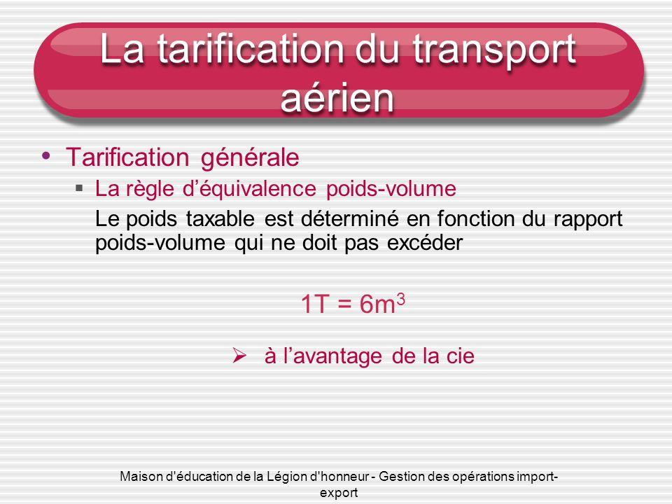 Maison d'éducation de la Légion d'honneur - Gestion des opérations import- export La tarification du transport aérien Tarification générale La règle d