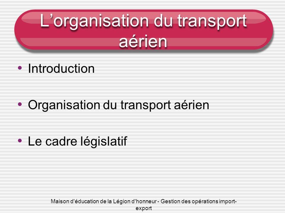 Maison d'éducation de la Légion d'honneur - Gestion des opérations import- export Lorganisation du transport aérien Introduction Organisation du trans