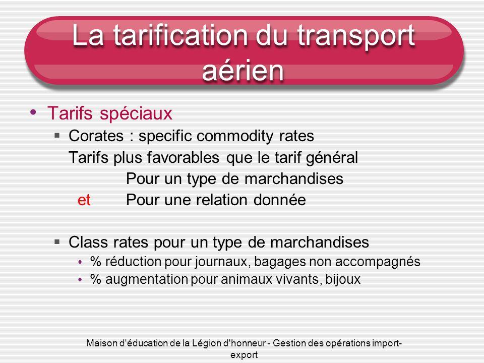 Maison d'éducation de la Légion d'honneur - Gestion des opérations import- export La tarification du transport aérien Tarifs spéciaux Corates : specif