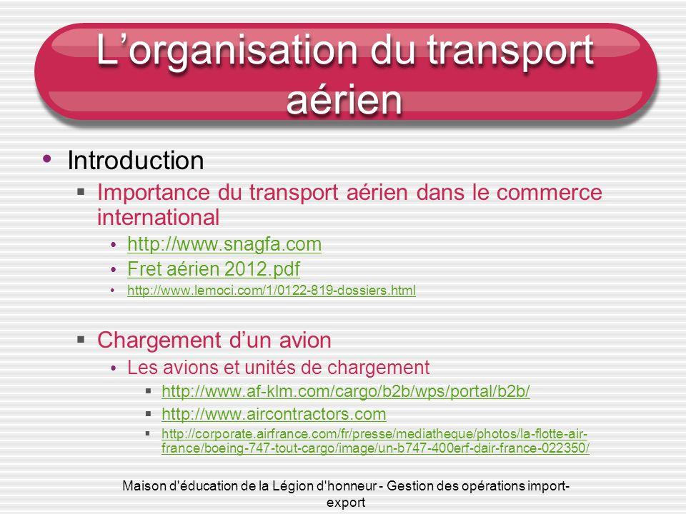 Maison d'éducation de la Légion d'honneur - Gestion des opérations import- export Lorganisation du transport aérien Introduction Importance du transpo