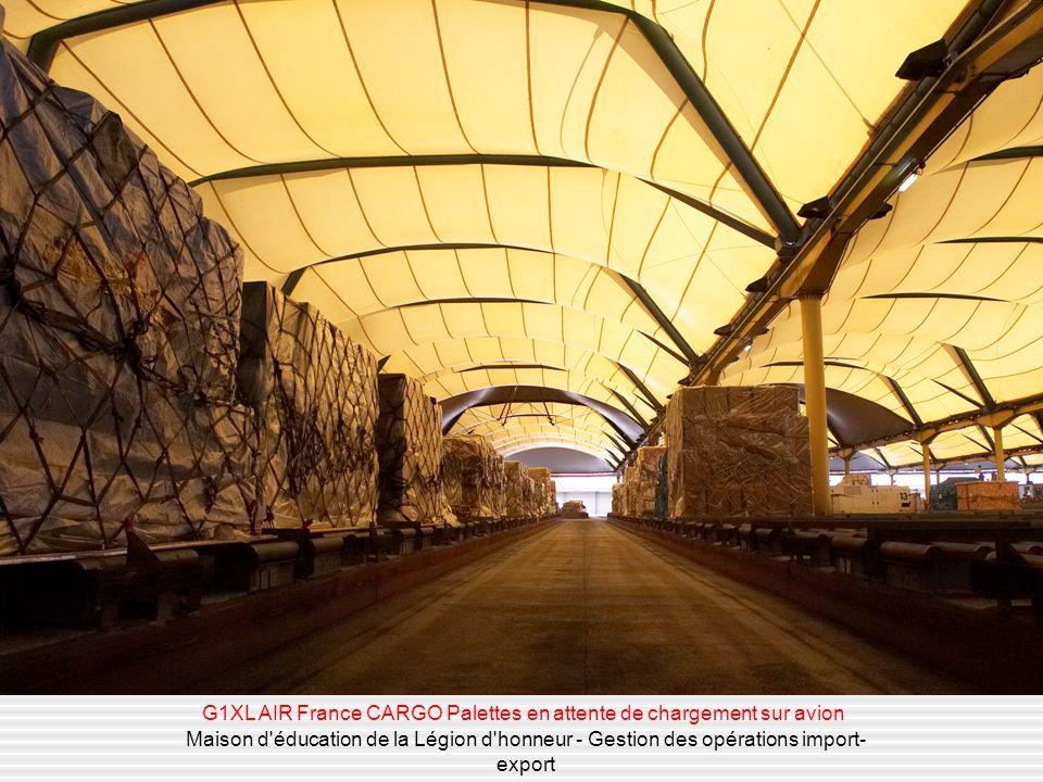 Maison d'éducation de la Légion d'honneur - Gestion des opérations import- export G1XL AIR France CARGO Palettes en attente de chargement sur avion