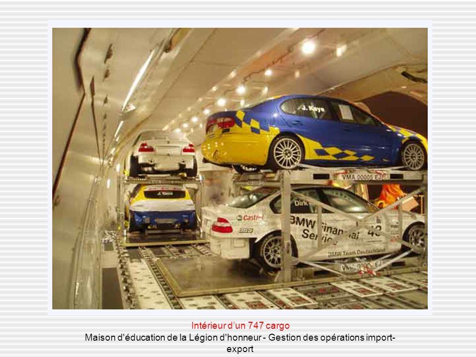Lorganisation du transport aérien Maison d éducation de la Légion d honneur - Gestion des opérations import- export Air France optimise au maximum lutilisation des soutes larges des avions passagers aux coûts bas - inférieurs de 30% aux coûts de capacités cargo - et qui répondent à la majorité des besoins.