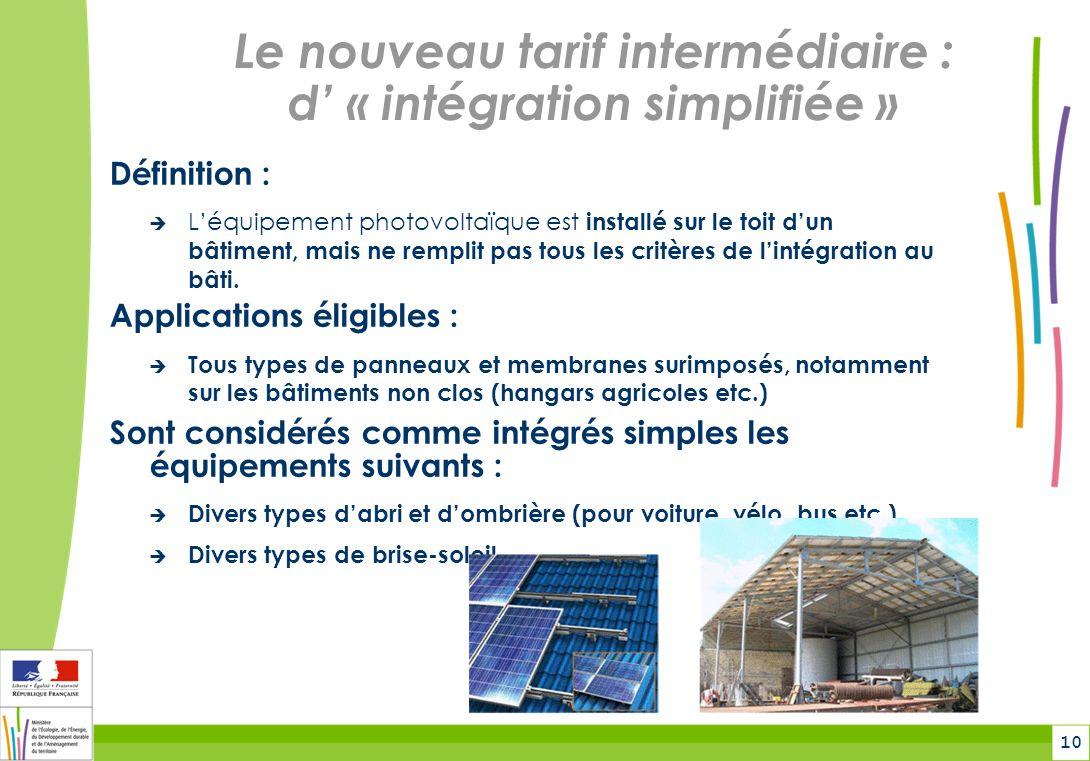 10 Le nouveau tarif intermédiaire : d « intégration simplifiée » Définition : Léquipement photovoltaïque est installé sur le toit dun bâtiment, mais ne remplit pas tous les critères de lintégration au bâti.