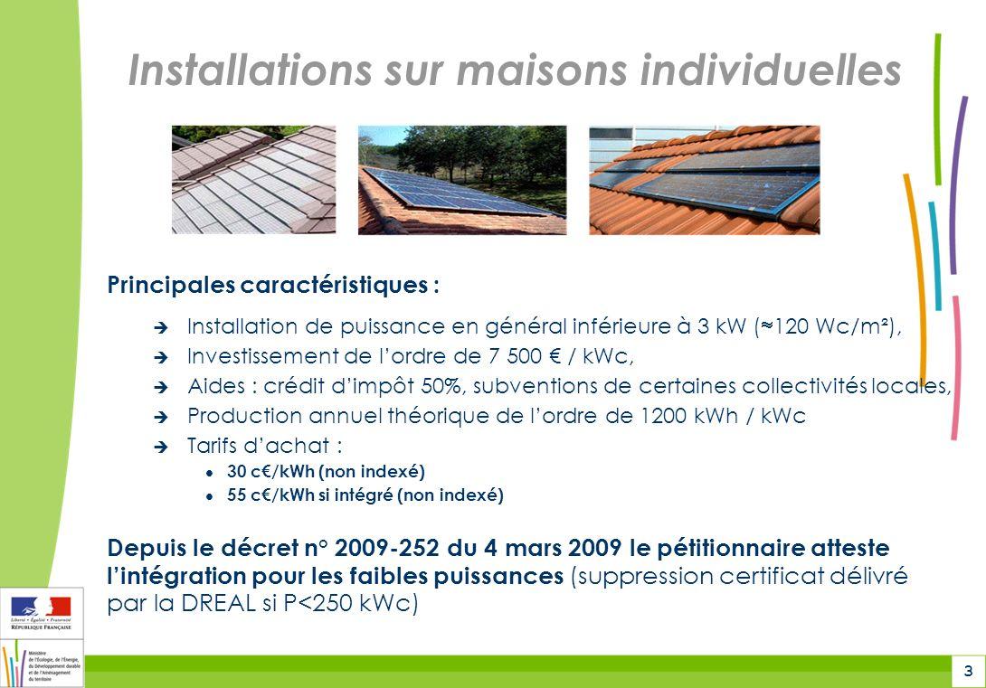 3 Installations sur maisons individuelles Principales caractéristiques : Installation de puissance en général inférieure à 3 kW ( 120 Wc/m²), Investissement de lordre de 7 500 / kWc, Aides : crédit dimpôt 50%, subventions de certaines collectivités locales, Production annuel théorique de lordre de 1200 kWh / kWc Tarifs dachat : 30 c/kWh (non indexé) 55 c/kWh si intégré (non indexé) Depuis le décret n° 2009-252 du 4 mars 2009 le pétitionnaire atteste lintégration pour les faibles puissances (suppression certificat délivré par la DREAL si P<250 kWc)