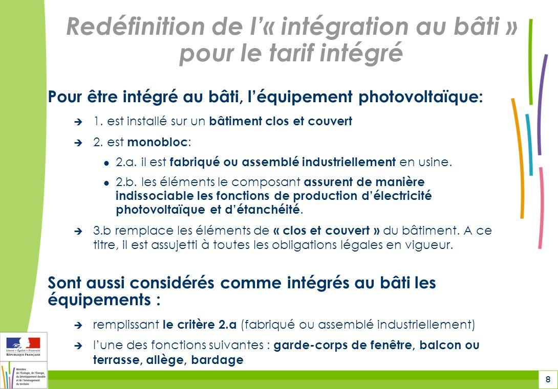 8 Redéfinition de l« intégration au bâti » pour le tarif intégré Pour être intégré au bâti, léquipement photovoltaïque: 1. est installé sur un bâtimen