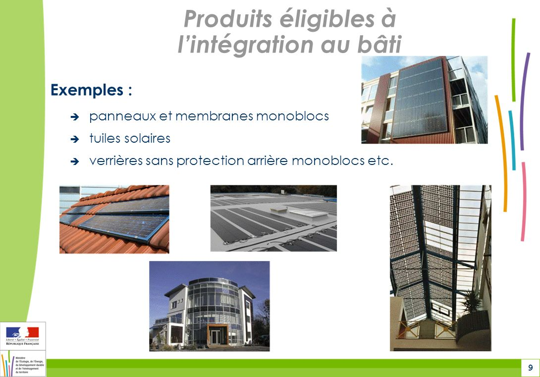9 Produits éligibles à lintégration au bâti Exemples : panneaux et membranes monoblocs tuiles solaires verrières sans protection arrière monoblocs etc.
