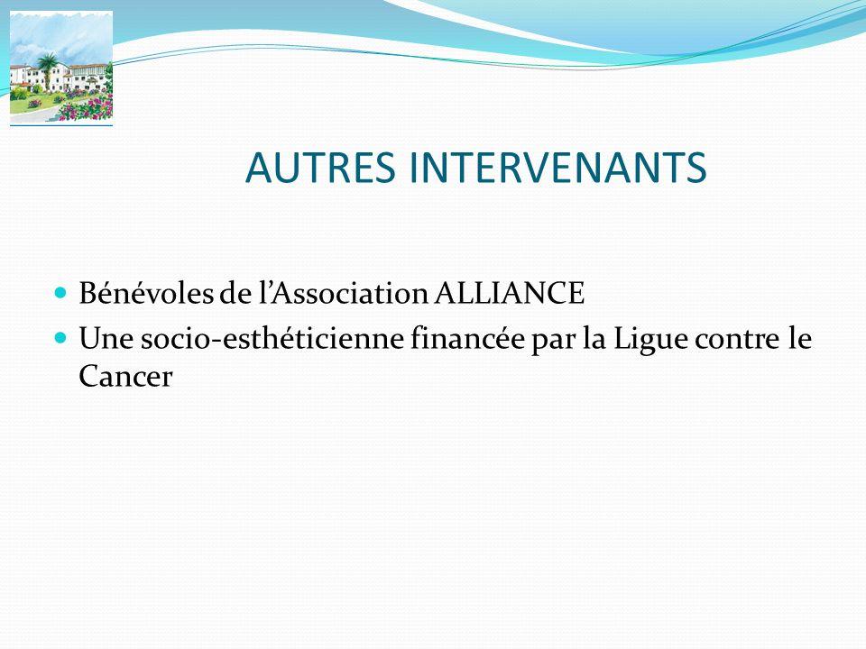 AUTRES INTERVENANTS Bénévoles de lAssociation ALLIANCE Une socio-esthéticienne financée par la Ligue contre le Cancer
