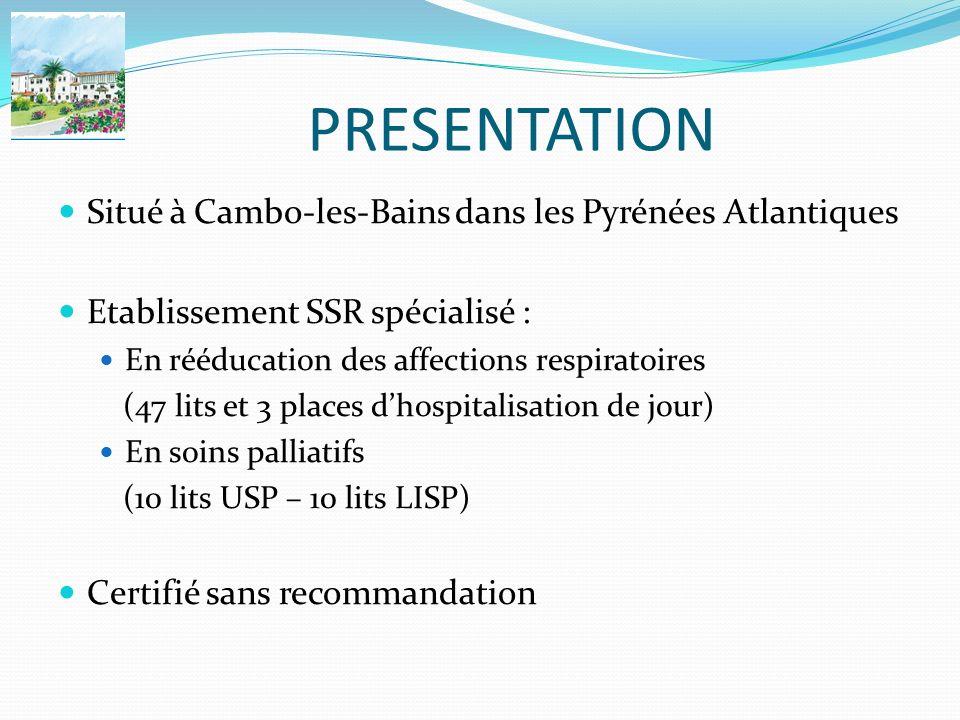 PRESENTATION Situé à Cambo-les-Bains dans les Pyrénées Atlantiques Etablissement SSR spécialisé : En rééducation des affections respiratoires (47 lits