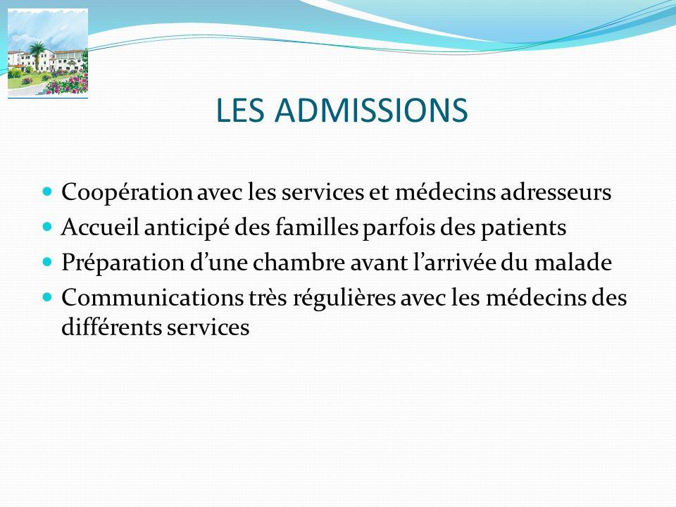 LES ADMISSIONS Coopération avec les services et médecins adresseurs Accueil anticipé des familles parfois des patients Préparation dune chambre avant