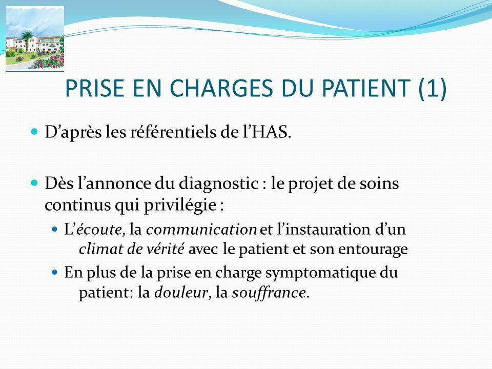 PRISE EN CHARGES DU PATIENT (1) Daprès les référentiels de lHAS. Dès lannonce du diagnostic : le projet de soins continus qui privilégie : Lécoute, la