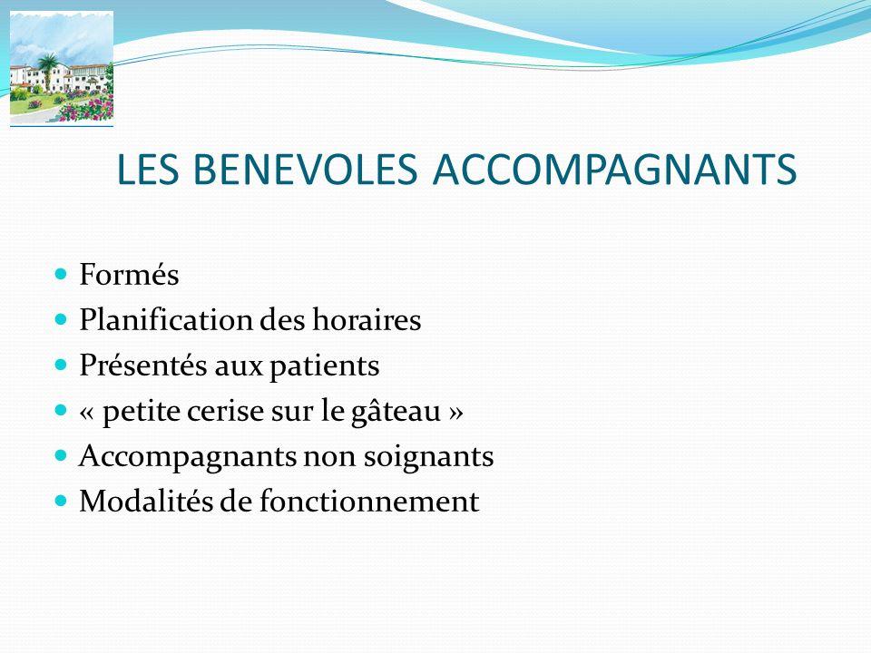 LES BENEVOLES ACCOMPAGNANTS Formés Planification des horaires Présentés aux patients « petite cerise sur le gâteau » Accompagnants non soignants Modal