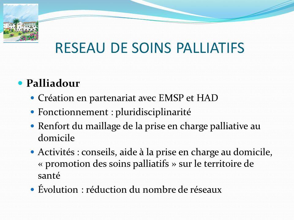 RESEAU DE SOINS PALLIATIFS Palliadour Création en partenariat avec EMSP et HAD Fonctionnement : pluridisciplinarité Renfort du maillage de la prise en