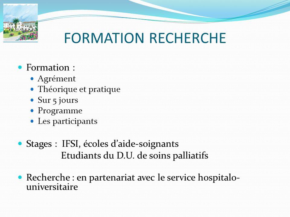 FORMATION RECHERCHE Formation : Agrément Théorique et pratique Sur 5 jours Programme Les participants Stages : IFSI, écoles daide-soignants Etudiants